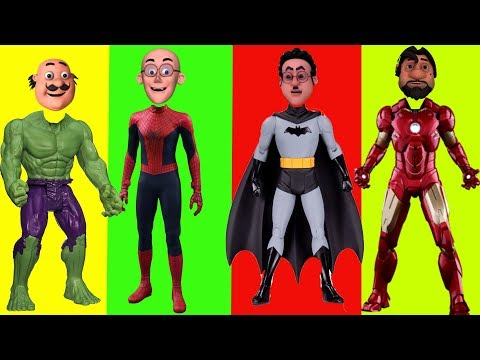 Motu Patlu Superheros Wrong Heads With  Motu Patlu And Superheros  Learn Colors For Children