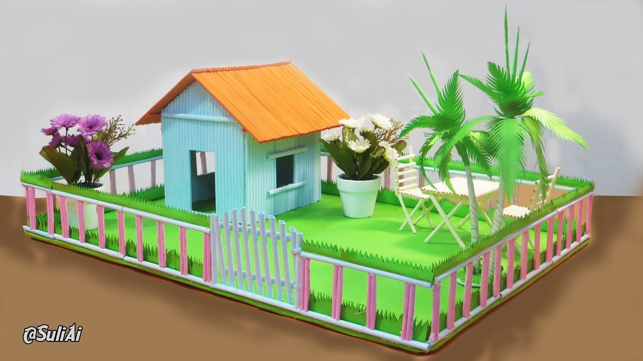 Making paper house beautiful home with playground for pets kids