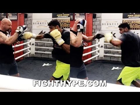 AMIR KHAN EXPLOSIVE NEW LOOK; FIRST MITT SMASHING SESSION WITH TRAINER BONES ADAMS
