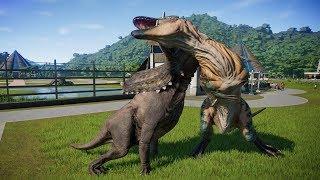 I-REX,PENTACERATOPS,ACROCANTHOSAURUS,T-REX & ANKYLOSAURUS FIGHT JURASSIC WORLD EVOLUTION