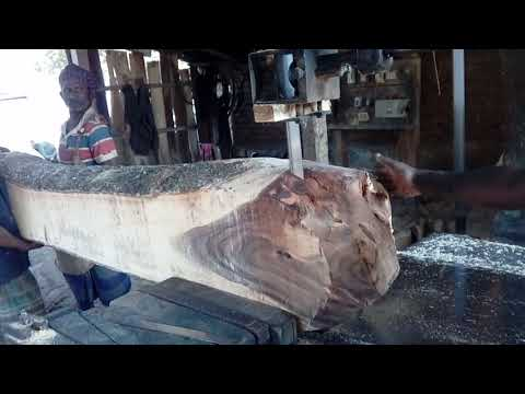 Bamboo Supported Dangerous Saw Machine Cutting Wood by Expert Workers in BD Village/BD Saw Mill