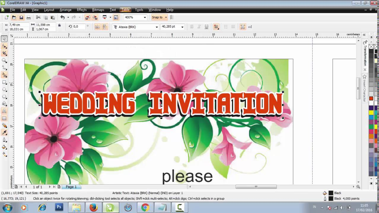 Make a wedding invitation design in coreldraw youtube stopboris