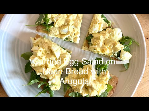 Curried Egg Salad on Naan Bread with Arugula
