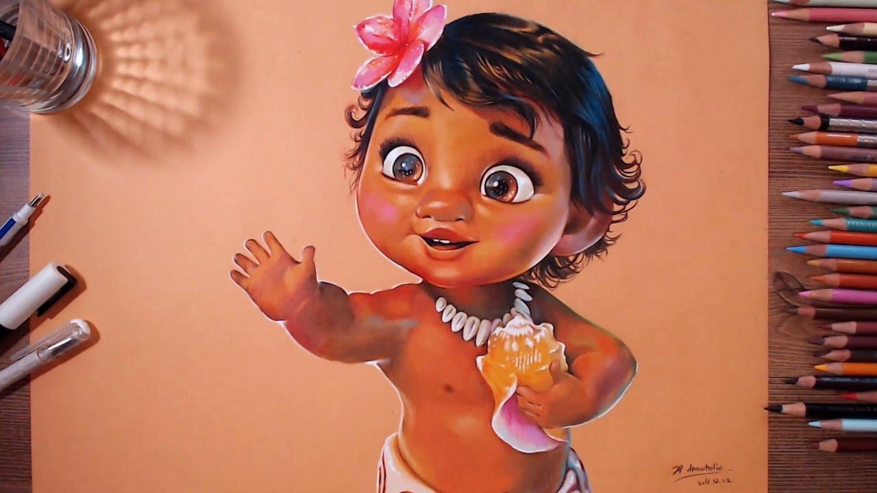 Baby Moana - speed drawing | drawholic | Doovi