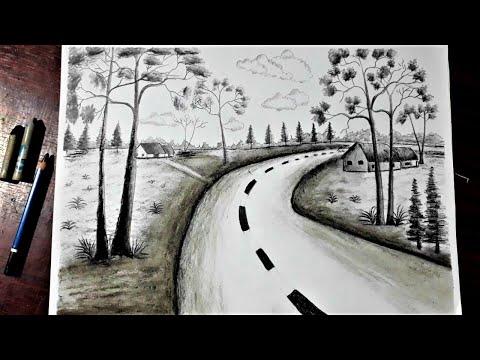 #1, Vẽ đen trắng : vẽ tranh phong cảnh quê hương bằng bút chì đơn giản - Hung Art
