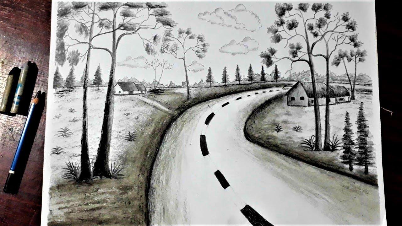 #1, Vẽ đen trắng : vẽ tranh phong cảnh quê hương bằng bút chì đơn giản – Hung Art | Tổng hợp các thông tin liên quan đến những bức tranh vẽ về phong cảnh quê hương đầy đủ nhất