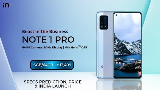 MICROMAX IN NOTE 1 PRO || IN NOTE 1 PRO || SPECIFICATION PREDICTION, PRICE AND INDIA LAUNCH