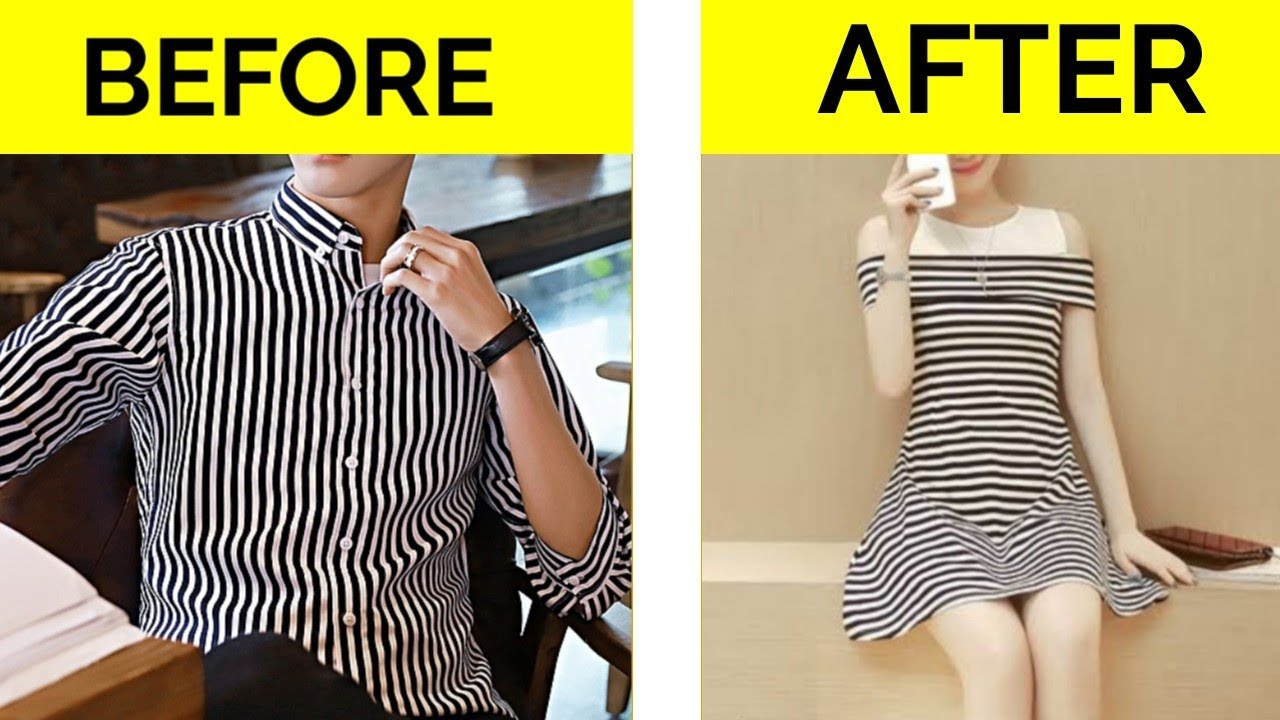 DIY THRIFT FLIP CONVERT MEN OLD SHIRT INTO PARTY DRESS TOP OLD TO NEW  BUDGET HACK SAVE YOUR MONEY 7