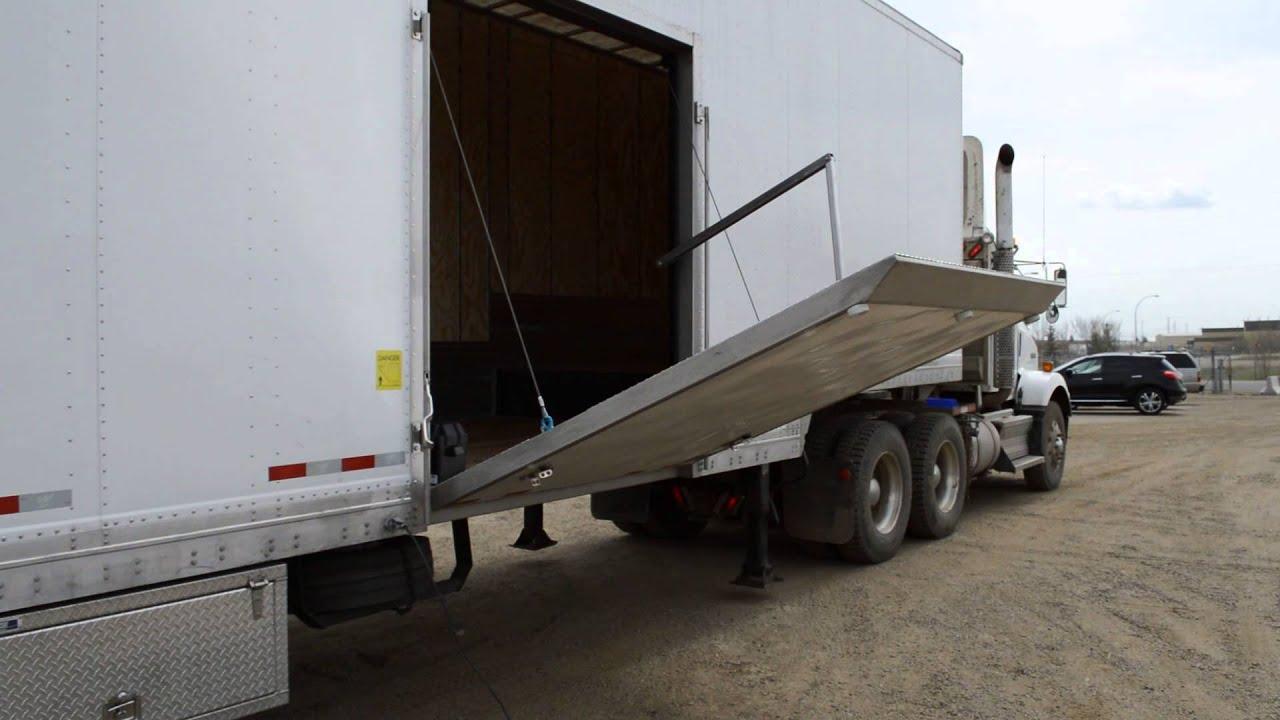 2015 Manac Drop Frame Van with Hydraulic Side Door - YouTube