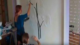 Роспись по стене - орхидея(Художественная роспись стен в спальной комнате - цветок орхидеи Другие наши работы можно посмотреть здесь..., 2013-09-10T09:21:13.000Z)