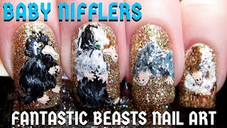 Baby Nifflers (Fantastic Beasts) DIY Freehand Nail Art Tutorial
