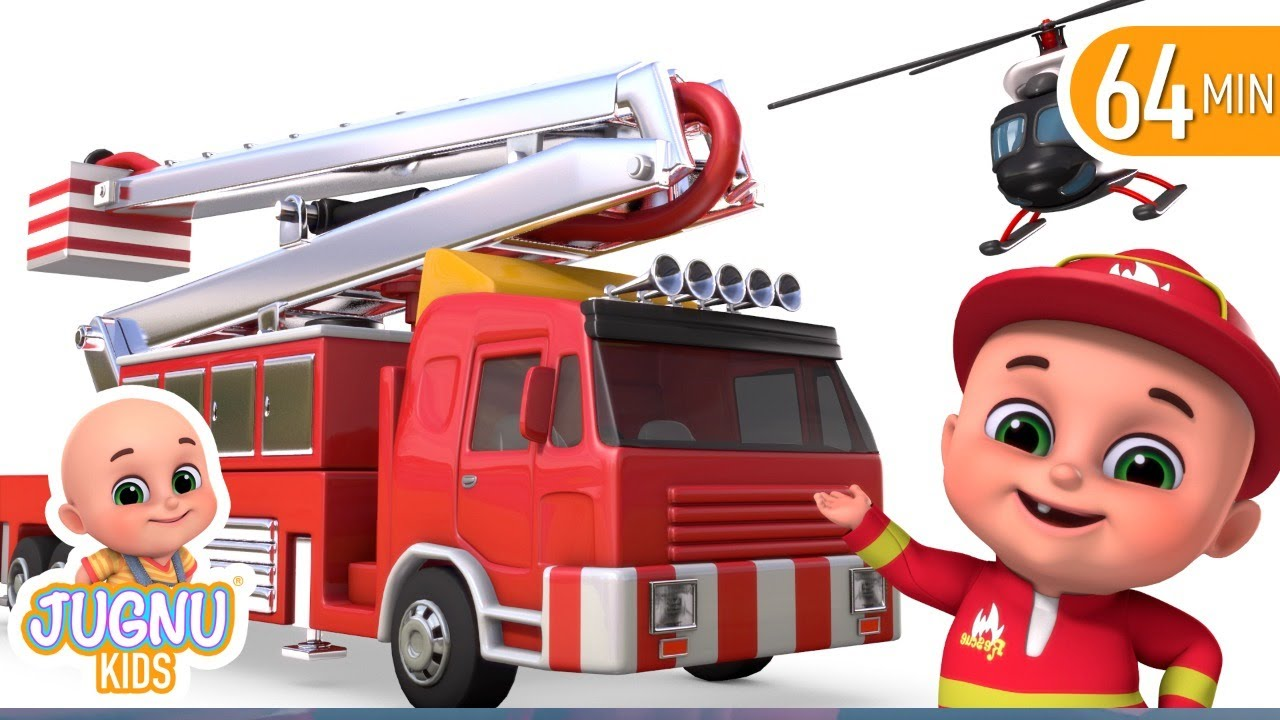 Fire Brigade Truck | Tractor Cartoon, Fire Truck | Surprise Eggs Toys from Jugnu Kids