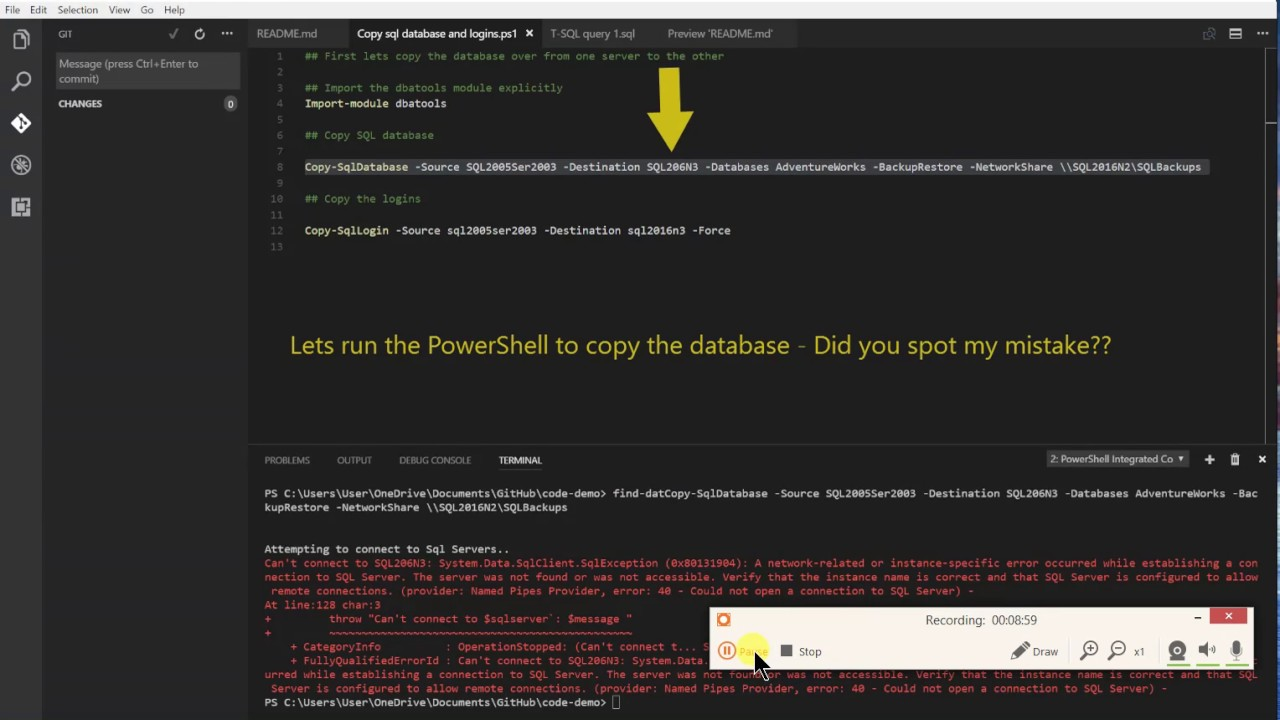 Visual Studio Code with Markdown, PowerShell and T-SQL and Git