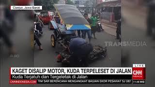 Kaget Disalip Motor Kuda Terpeleset Di Jalan | REDAKSI SIANG (15/01/21)