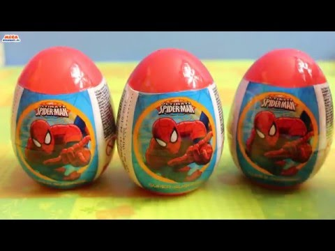 Spider-Man - 3 Surprise Eggs with Toys & Sweets - Unboxing
