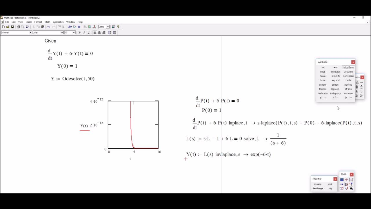 Analytical Solution Of Differential Equations Using Mathcad Youtube