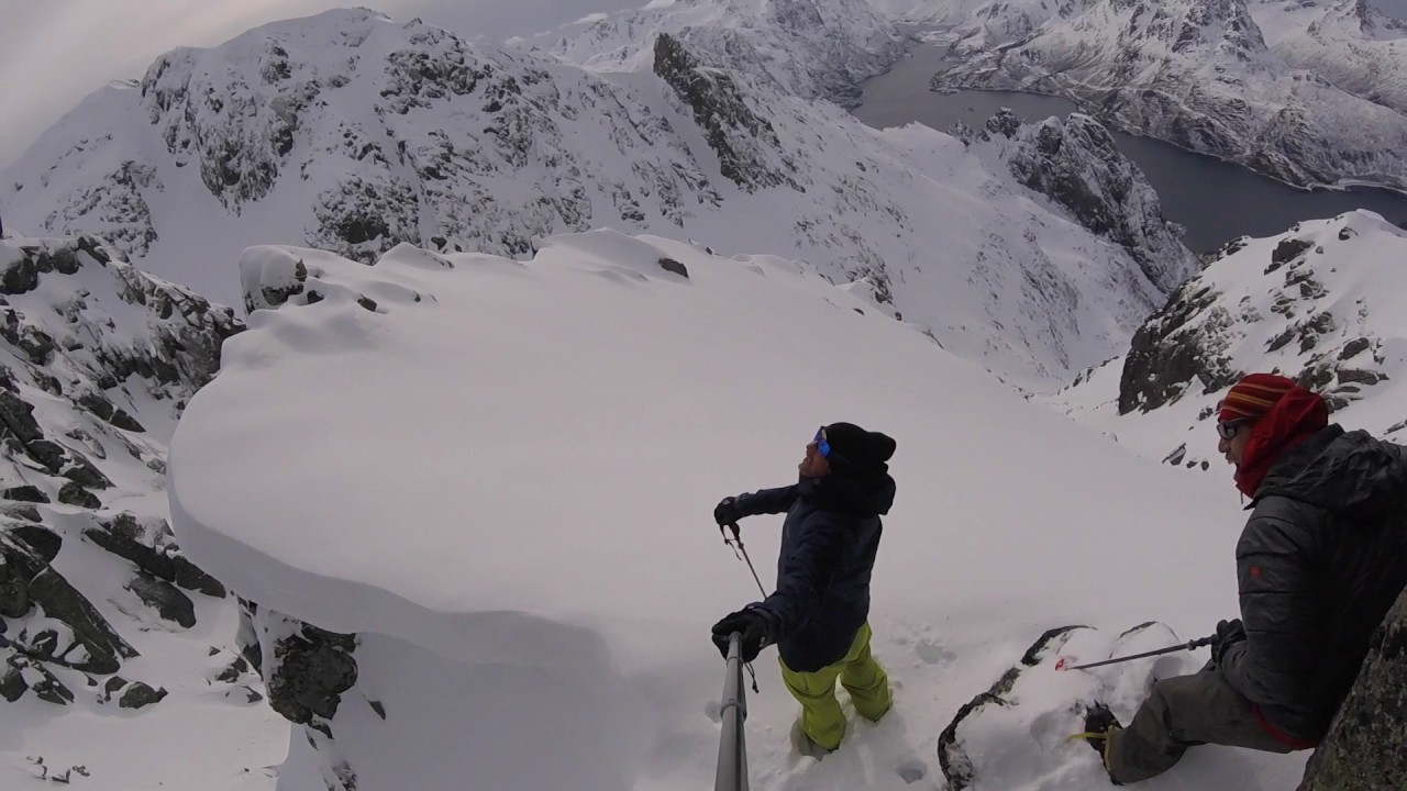 4935b31e7f9b58 Splitboarding deep in the lofoten isles - Brietinden - steep climb and ride!