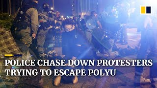 Hong Kong police chase down protesters trying to escape from Polytechnic University