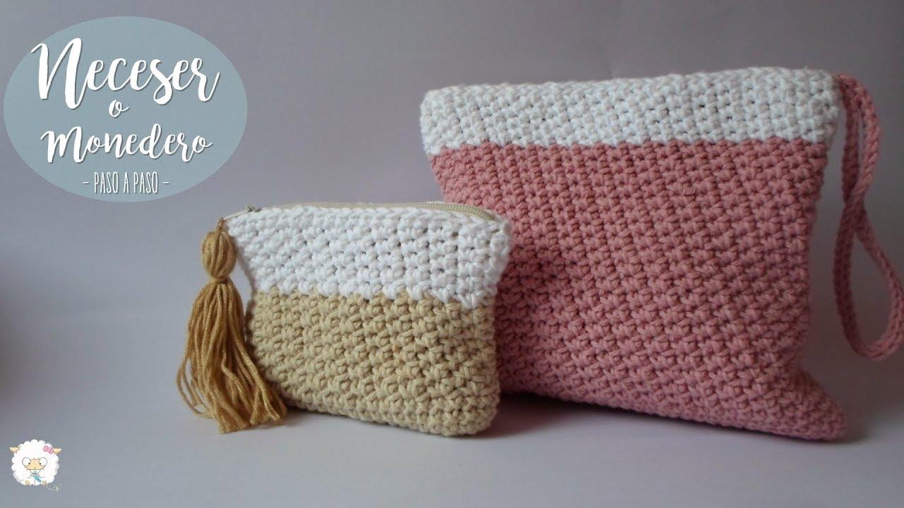 1ed4dbd10 Neceser a crochet con cierre o cremallera y forro! - YouTube