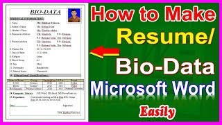 How to make Resume, Bio-Data । Resume Writing System