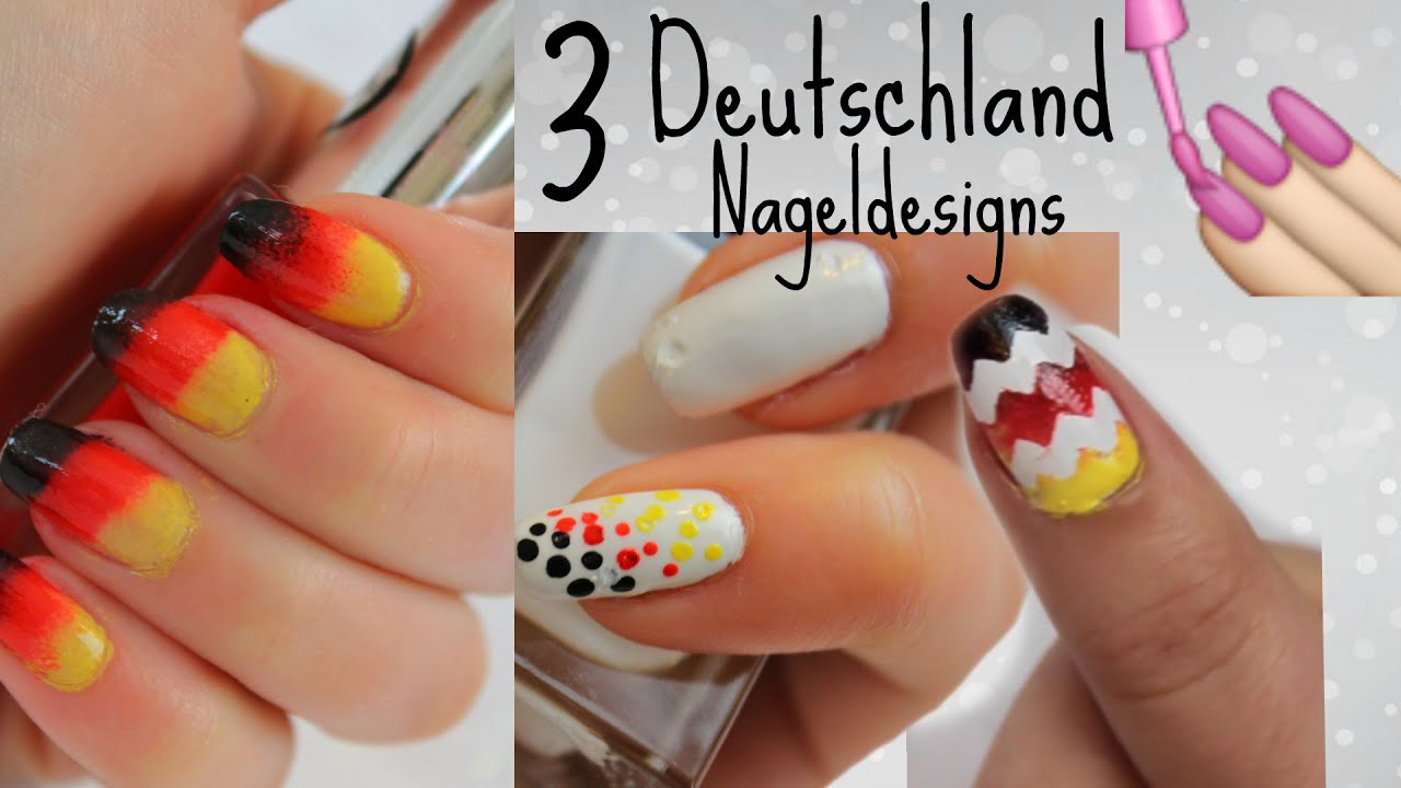 Impressive Nageldesign Schwarz Rot Decoration Of 3 Deutschland Nageldesigns Diy I Schwarz-rot-gold I