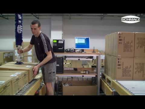 Facile Order Picking in a Logistics Center with the vacuum lifter JumboFlex