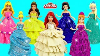 DIY Making Amazing Play Doh Dresses with Glitter for Disney Princess Dolls