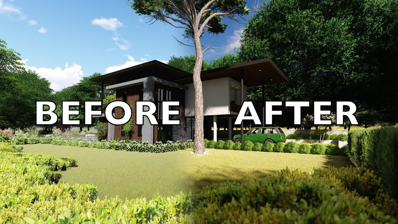 Lumion 8 before after render tutorial modern house 1