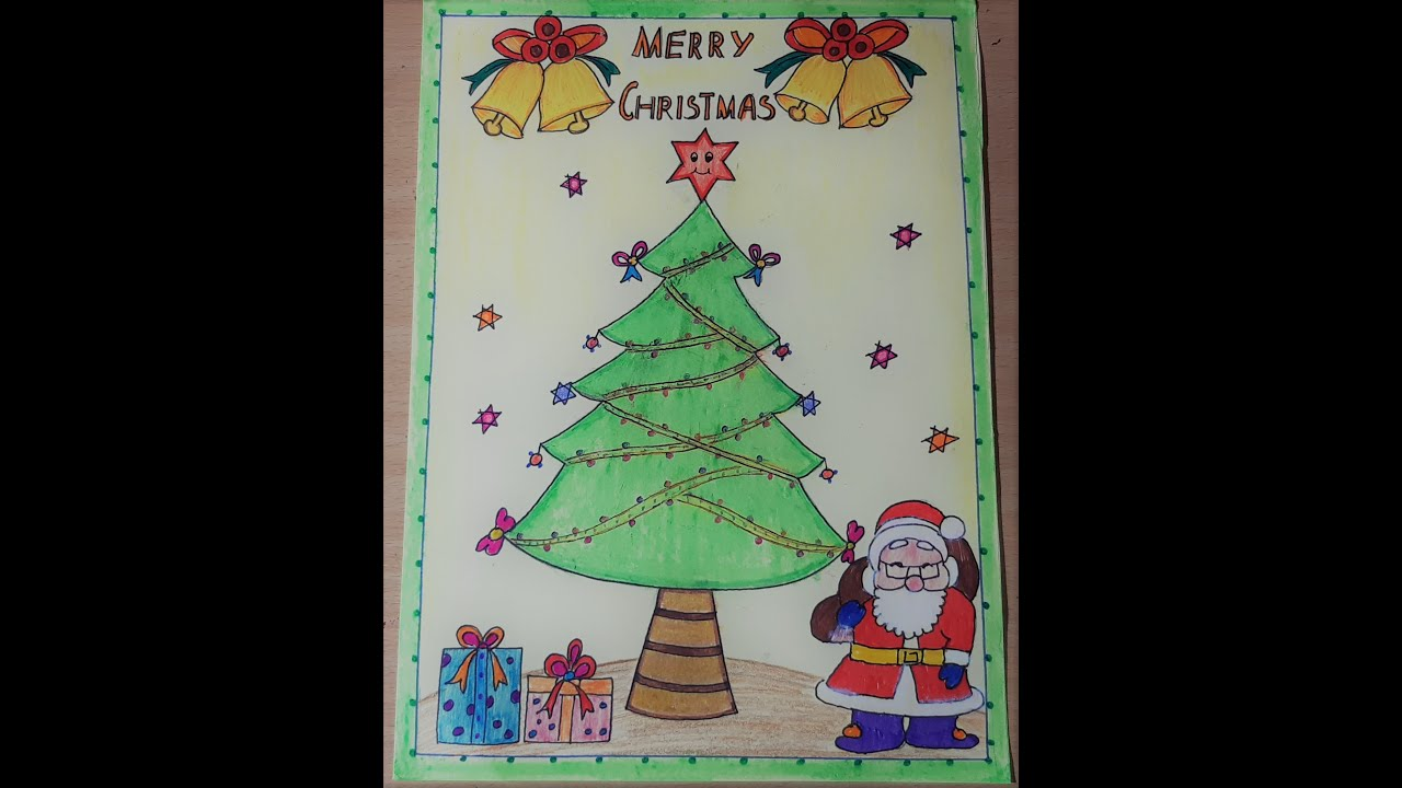 How To Make Christmas Poster Drawing For Kids Ll Easy Simple Christmas Greeting Card Drawing