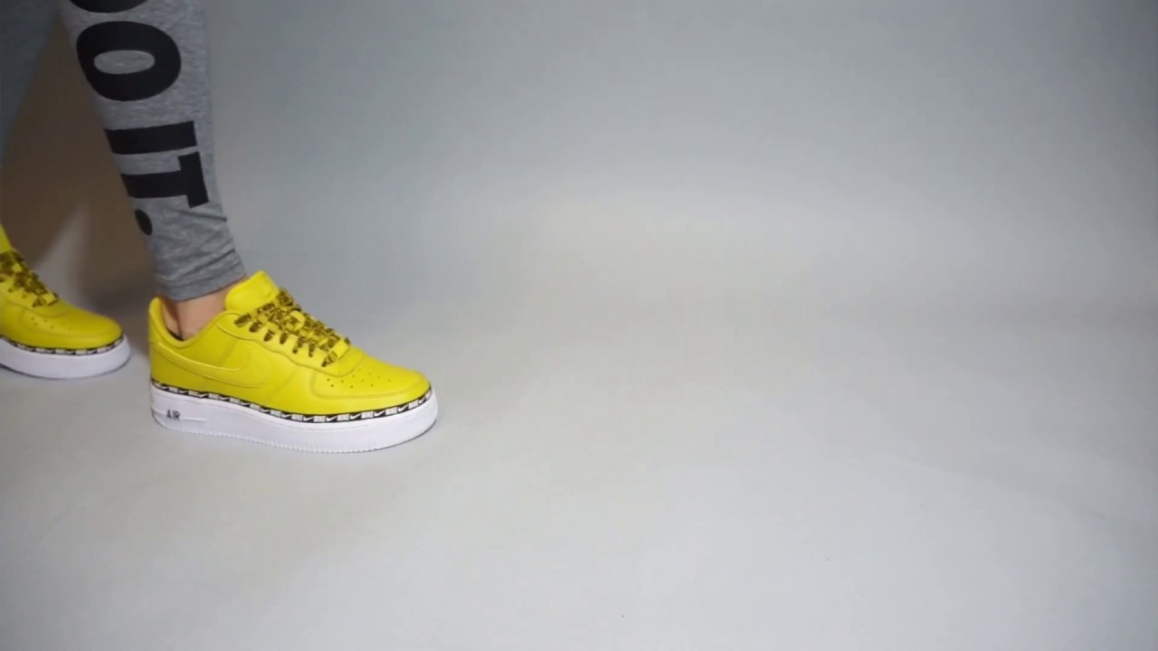 Nike Air Force 1 07 SE Premium Yellow AH6827 700 on feet