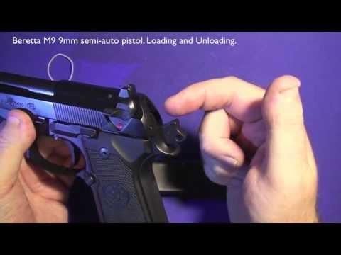 Beretta M9 (92FS) 9mm Semi-Automatic Pistol. Loading and Unloading