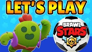 Let's Play Brawl Stars - Playing with Spike in Brawl Ball (1st Video Playing in Landscape)