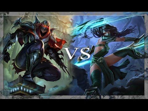 Akali vs Zed Mid Lane Full game play League of Legends