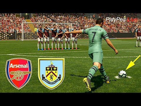 PES 2019 - BURNLEY Vs ARSENAL - Full Match & MKHITARYAN Free Kick Goal - Gameplay PC