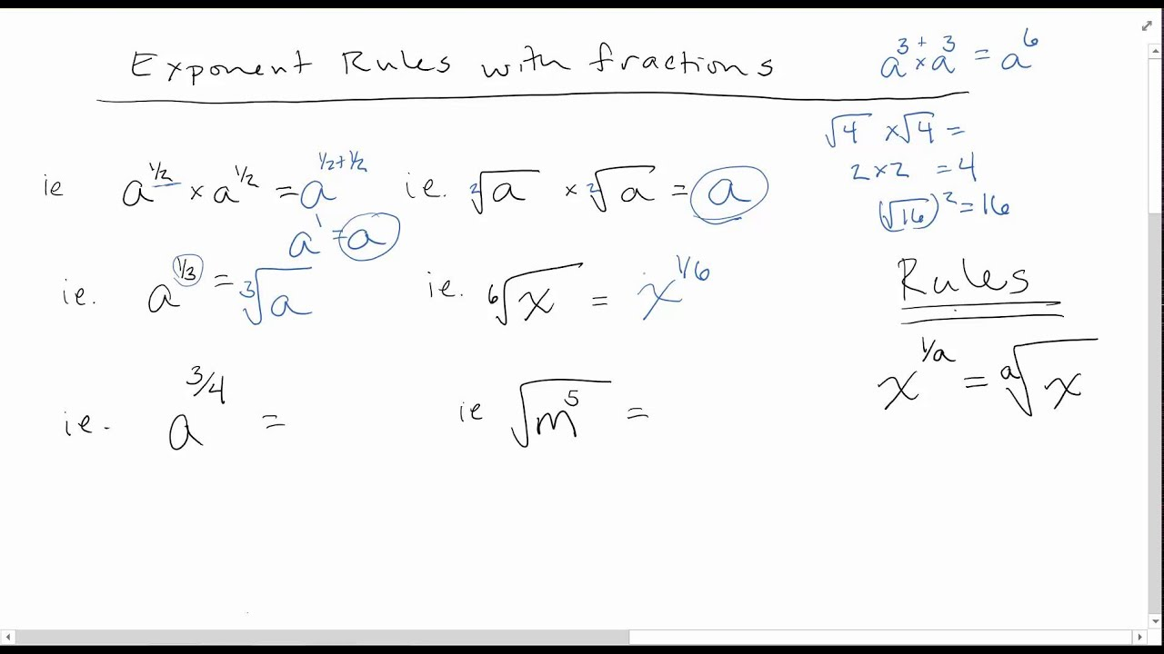 worksheet Exponential Fractions exponent rules with fractions for powers youtube powers