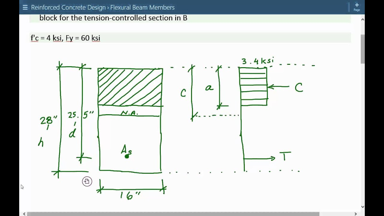 Structural engineering reinforced concrete design & analysis for flexural  beam members Example 1A