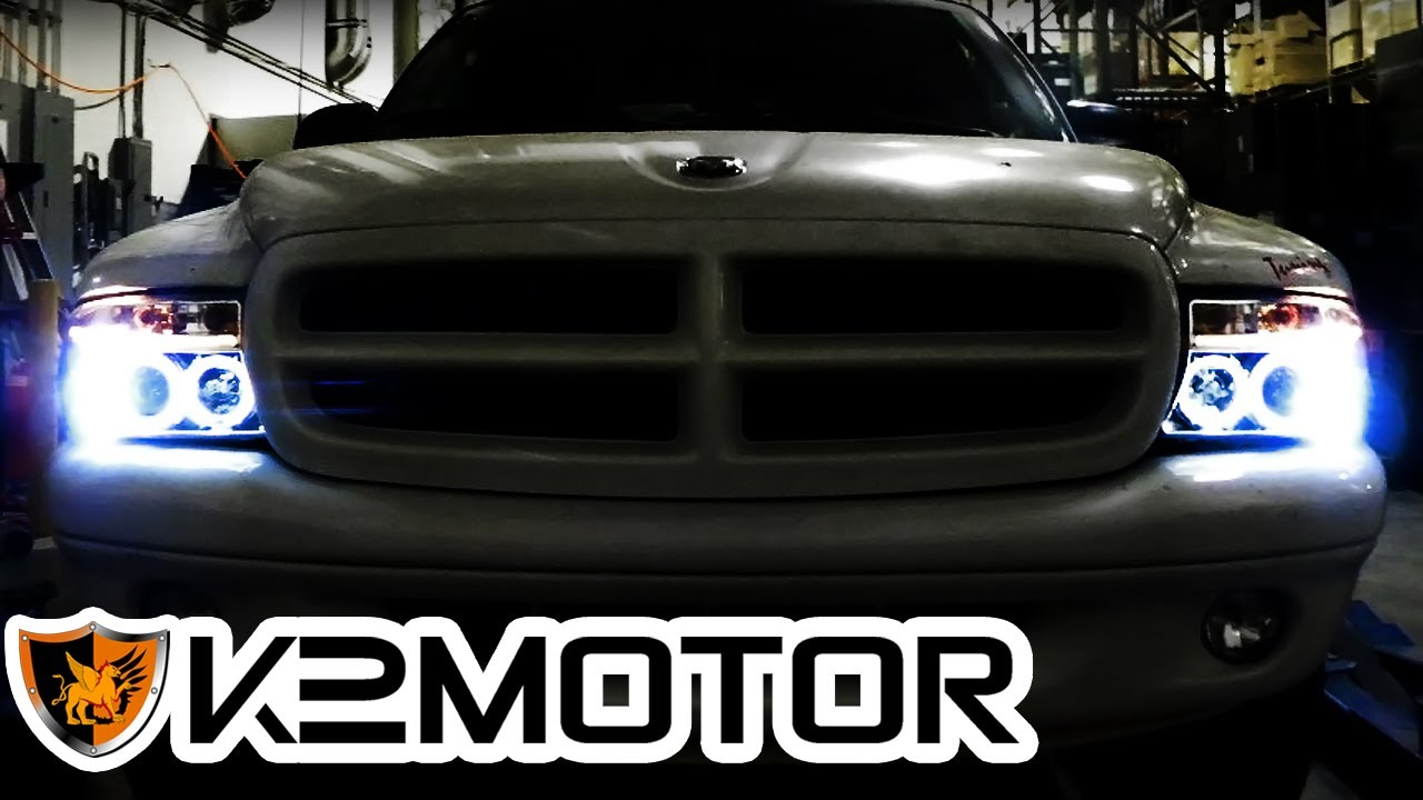 K2 MOTOR INSTALLATION VIDEO: 9704 DODGE DAKOTA  9803 DODGE DURANGO PROJECTOR HEADLIGHTS  YouTube