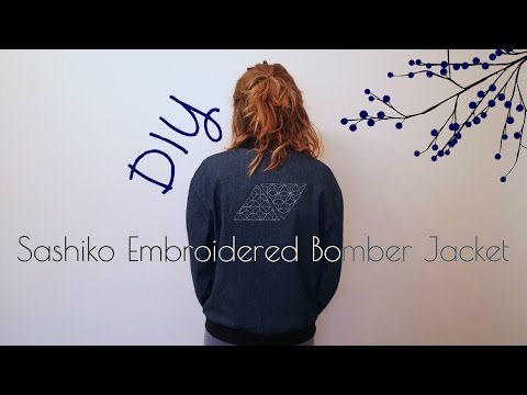 DIY Sashiko Embroidery - Hand Embroidered Bomber Jacket