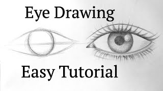 How to draw aฑ eye/eyes easy step by step for beginners Eye drawing easy tutorial with pencil basics