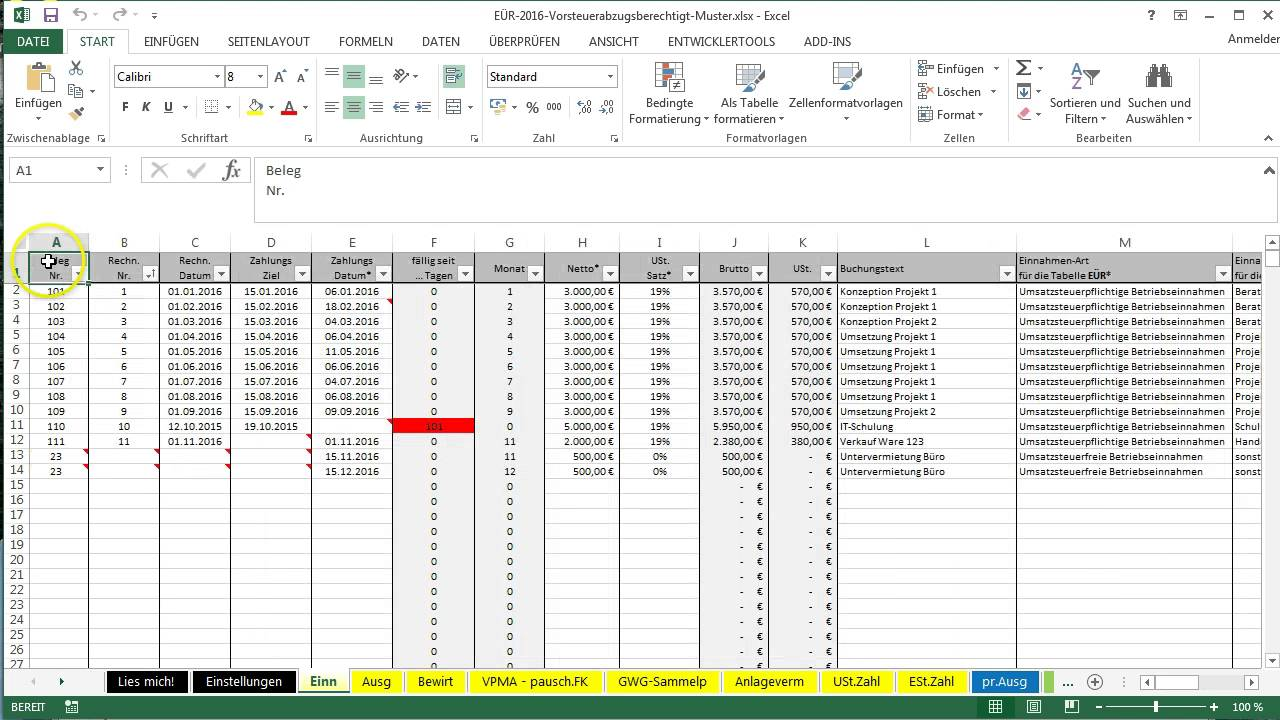 Tabellen in Excel-Vorlage-EÜR ausdrucken - YouTube