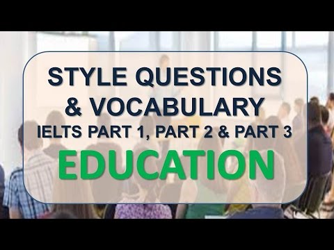 IELTS Speaking part 1, part 2, part 3 with vocabulary | Topic: Education