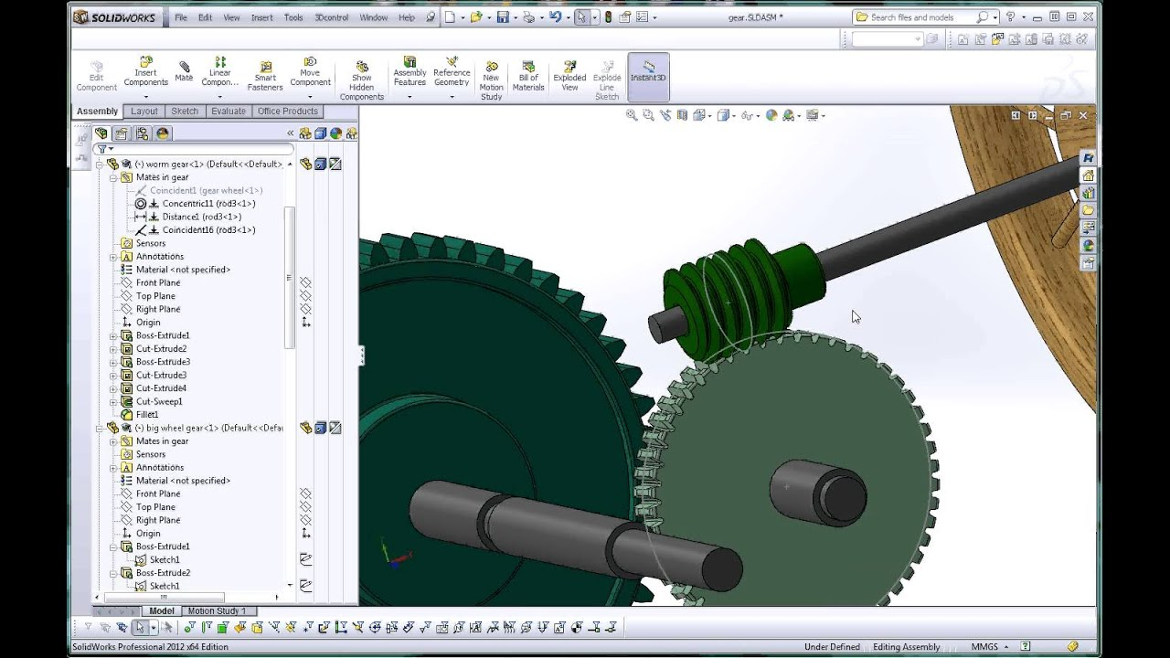 Solidworks Help Tutorial How To Apply A Mate Worm Gear And Pinion You