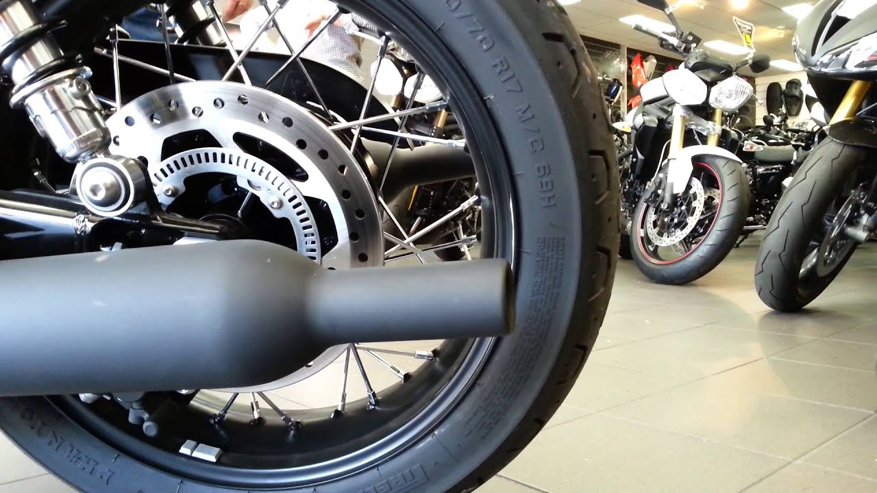 triumph 2016 t120 stock exhaust at lloyd chapman motorcycles - youtube