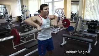 Тяга штанги к подбородку. Как накачать плечи. Обучающее видео(Бодибилдинг программа тренировок «Аполлон»: http://www.athleticblog.ru/?page_id=3002 Тяга штанги к подбородку. Как накачать..., 2011-10-18T12:13:51.000Z)