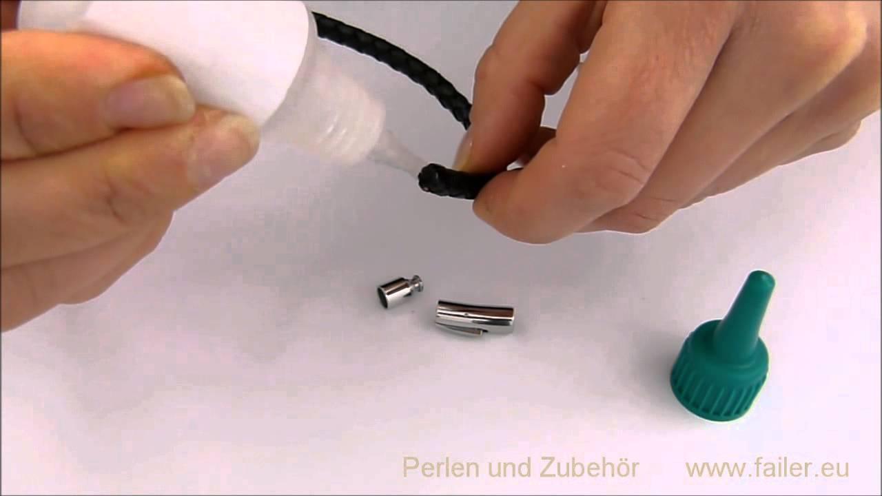 verschluss einkleben in ein lederband anleitung zum selber machen youtube. Black Bedroom Furniture Sets. Home Design Ideas