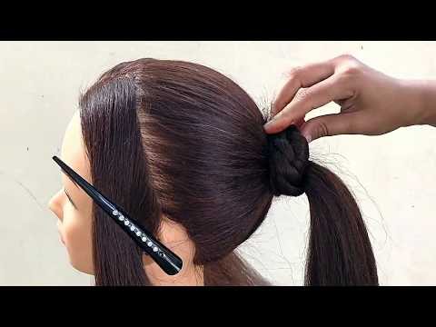 Easy Beautiful Hairstyle For Wedding Party || Awesome Bun Hairstyle With Trick thumbnail