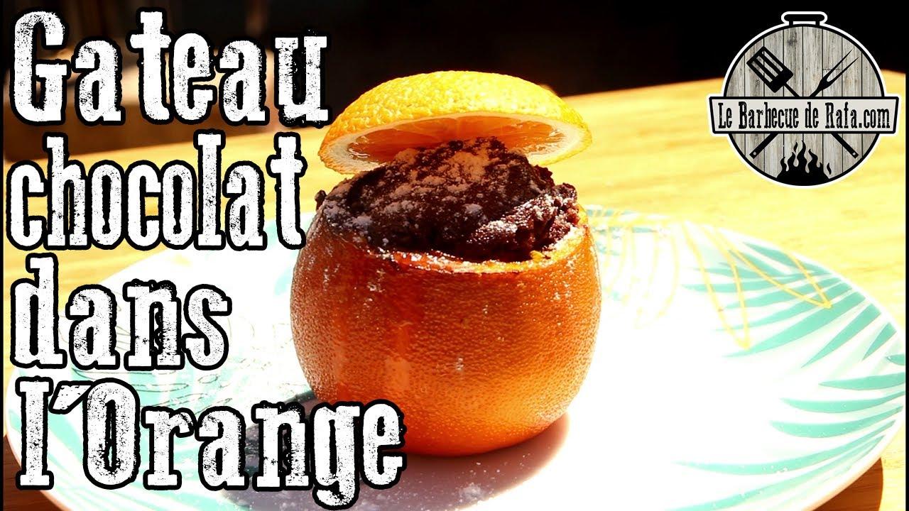 Gateau au chocolat dans l'orange au BBQ + recette SURPRISE !!