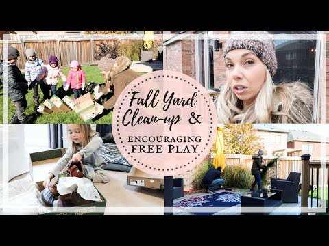 FALL YARD CLEAN UP | WINTER BOOTS UNBOXING | KIDS FREE PLAY