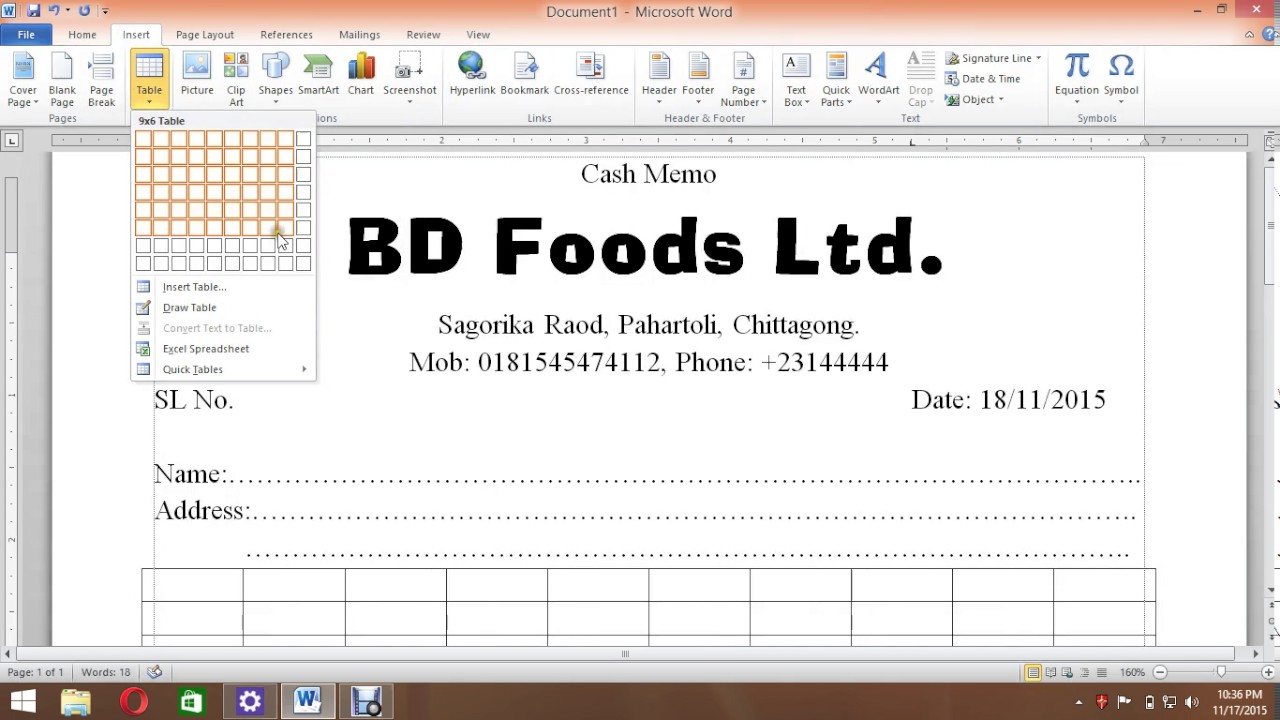 Cash Memo In Ms Word  Cash Memo Format In Word
