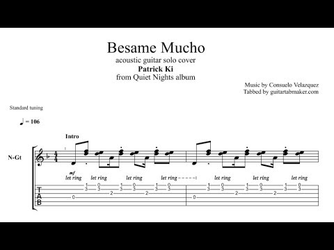 Besame Mucho TAB  instrumental acoustic guitar solo tab  PDF  Guitar Pro